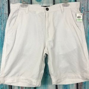 INC Men's White Flat Front Linen Blend Shorts